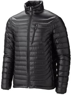 Marmot Men's Quasar Jacket, Black, X-Large by Marmot. $274.01. At under nine ounces, the ridiculously warm and lightweight Quasar is a modern marvel. Ultralightweight, DWR-treated Pertex Quantum shell fabric and the best 900-fill down available give this jacket an ubelievable warmth to weight ratio and compactibility that's next to nothing. Stuff the coat into its own zippered chest pocket for fast and light packing.