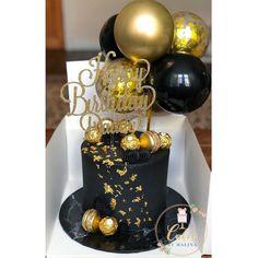 Black And Gold Birthday Cake, 30th Birthday Cake For Women, Black And Gold Cake, 25th Birthday Cakes, 21st Birthday Decorations, Birthday Cake For Boyfriend, Birthday Ideas, 21 Birthday, Cake Decorations