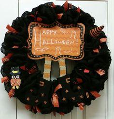 "Halloween black burlap 18"" wreath"