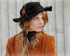 Floppy Black Felt Hat Rustic Bohemian Fall by GreenTrunkDesigns
