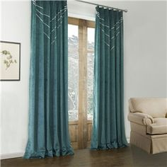 Blackout Curtains - ( One Panel ) Modern Dark Green Geometric Pattern Polyester & Cotton Blackout Curtains-582