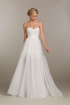 Tara Keely strapless wedding dress