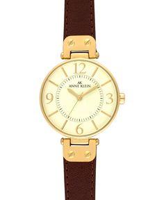 Anne Klein Watch, Women's Brown Leather Strap 10-9168IVBN