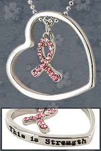 This is Strength Pink Ribbon Necklace at The Breast Cancer Site $14.95