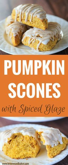 Pumpkin Scones with Spiced Glaze These pumpkin scones are a copycat version of Starbucks' pumpkin scone; they are warmly spiced and topped with two sweet glazes – one plain and one spiced. Breakfast Recipes, Dessert Recipes, Fall Breakfast, Breakfast Scones, Breakfast Healthy, Sweet Breakfast, Breakfast Ideas, Delicious Desserts, Yummy Food