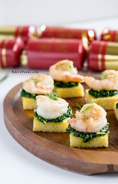 Polenta Squares with Garlic Shrimp and Spinach Pesto | Community Post: 12 Easy Make-Ahead Appetizers For Your Party
