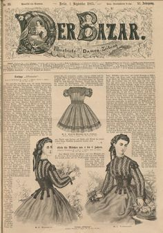 Der Bazar, September 1 1865. University of Dusseldorf.  Civil War Era Fashion Plate