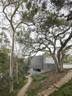 Los Angeles-based design-build firm Walker Workshop has designed a home in Beverly Hills, California, that capitalizes on the view while preserving the natural landscape. Over 130 protected oaks can found on the property, so the team created a sub. Bungalow, Upside Down House, Moderne Pools, Swimming Pool Photos, Beverly Hills Houses, Hillside Landscaping, Landscaping Ideas, Workshop Design, Traditional Landscape