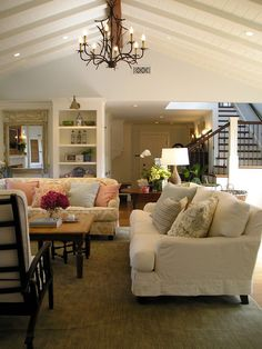 nice treatment for a high slanted ceiling