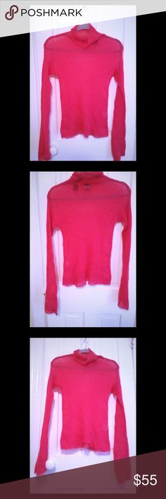 """DKNY Sheer Sweater Shirt, Size M DKNY Sheer Sweater Shirt. Really beautiful and light. Elegant can be worn with a skirt, dress pants, or jeans and heels. Bright color really pops on skin tones. Length from shoulder to bottom is 22"""". Size says M, but better for a Small. DKNY Sweaters Cowl & Turtlenecks"""