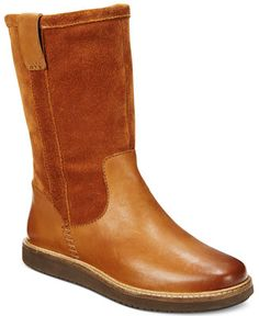 LADIES CLARKS LEATHER CASUAL PULL ON MID CALF FLAT WINTER BOOTS GLICK ELMFIELD