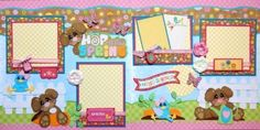 Hop-into-Spring-2-premade-scrapbook-pages-layout-paper-piecing-for-album-easter