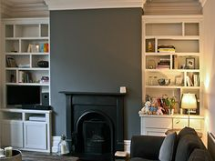 I really like the look of the 'higgledy-piggledy' shelves...they make the alcoves look less traditional and more quirky!