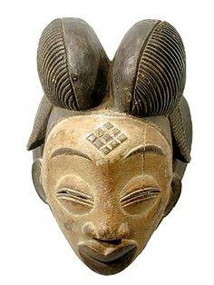 Punu mask from Gabon. African Masks, African Art, Art Sculpture, Tribal Art, Ancient Art, Headdress, Ethnic, Helmet, Statue