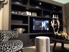 Kast label by Nuance maatwerk, Excellent beurs Ahoy 2014 Living Tv, Living Area, Living Room, Kirkland Home Decor, Entertainment Room, House Floor Plans, Interiores Design, Built Ins, Modern Design
