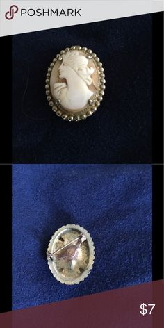 """Vintage Stone Cameo This is a vintage agate Cameo from around the 1950s with stone 3/4""""X1"""" overall with setting 1""""X1-1/4""""? The setting is worn, but the stone is in beautiful shape. Jewelry Brooches"""