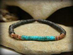 Mens Bracelet, Stretch Bracelet, Mens Jewelry, Heishi Bracelet, Turquoise Jewelry, Beaded Bracelet by StoneWearDesigns on Etsy https://www.etsy.com/listing/196597468/mens-bracelet-stretch-bracelet-mens
