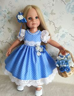 Hannah Gotz in Salstuff's Flower Girl Blue Dress with Polka Dots. Detachable bouquet on skirt, faux pearls hand stitched around neckline and Lace Puff Sleeves. Find me on Facebook - Sally Channon.