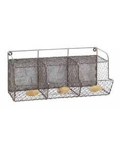 Three Section Metal Net Wall Storage Rack - Partitioned in three sections and designed with wire mesh, this constructive handiwork comes in the dimensions of 20 inches width, 10 inches length and 9 inches height. Crafted from the best grade iron and finished with excellence, this long-lasting sturdy artifact imparts an antiqued touch to your abode.