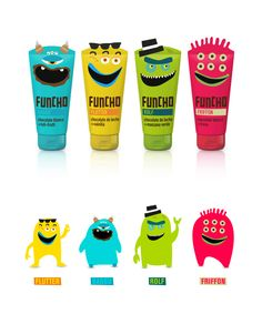 """""""Funcho"""", Kids chocolate tube, by Denise Del Carmen - Yogurt Packaging, Kids Packaging, Fruit Packaging, Food Packaging Design, Cute Packaging, Packaging Design Inspiration, Types Of Packaging, Chocolates, Kids Toothpaste"""