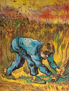 Vincent van Gogh. Reaper with Sickle (after Millet).Saint-Rémy, September 1889. Oil on canvas 44x33cm. Amsterdam, Van Gogh Museum (Vincent van Gogh Foundation).