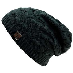 f13b1eed832 Black Oversize Slouchy Cable Knit Beanie Cap Hat ( 14) ❤ liked on Polyvore  featuring accessories