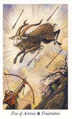 "five of arrows (wands) - Deer Illustrations are from the ""Wildwood Tarot"" Illustrator Will Worthington, and Mark Ryan, John Matthews (Authors)."