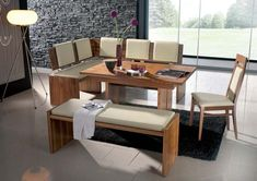 Going to Ashley Furniture Dining Table Set with Bench - Esszimmer Ideen Corner Booth Kitchen Table, Kitchen Corner Bench Seating, Table With Bench Seat, Dining Corner, Small Kitchen Tables, Kitchen Benches, Dining Room Sets, Corner Banquette, Banquette Seating