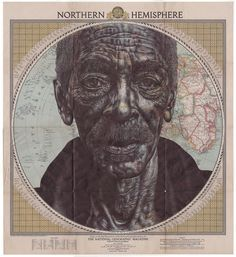 Working atop faded street maps, vintage National Geographic magazine covers, and decades-old stationery, London-based artist Mark Powell (previously) draws the wrinkled contours of his subject's faces with a standard black Bic ballpoint pen. The weathered portraits of both famous and anonymous peopl