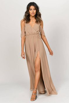 We're here for all of your maxi dress needs. From casual to classy, flirty to formal, low cut to high neck & so much more! Shop now & get off your order! Beige Maxi Dresses, Flowy Summer Dresses, Taupe Dress, Chiffon Maxi Dress, Cute Dresses, Girls Dresses, Floral Dresses, Taupe Bridesmaid, Bridesmaid Dresses