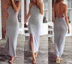 Aliexpress.com: Compre Nova moda Sexy mulheres verão algodão Boho longo Maxi vestido de festa Backless alta fenda cinza vestidos de praia de confiança Vestidos fornecedores em Women Fashion Dresses