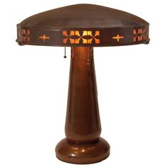 "Dirk Van Erp (1860-1933) - Table Lamp with Shade. Hammered Copper Lamp & Shade with Mica Inserts. 21"" x 18""."