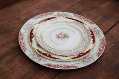 Dinner plates from Otis + Pearl Golden Floral china collection
