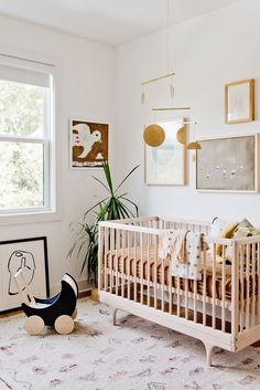 An organic modern nursery makeover. Click through for the full reveal (with before and after photos). Baby Bedroom, Baby Room Decor, Nursery Room, Boy Room, Kids Bedroom, Nursery Decor, Nursery Ideas, Room Ideas, Boho Nursery