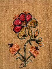 The Greek Institute Towel from Mytilene - with sprays of multi-colored flowers