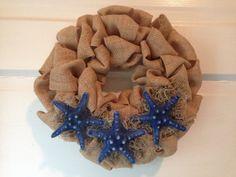 Mini Burlap Wreath Beach Wreath Starfish Wreath by JAMDesignsNJ, $25.00