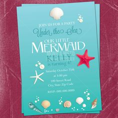 Rhymes perfert for THREE!!!! . Printable Little Mermaid Inspired Under the by MonicaGraphicDesign, $13.00