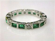 Emerald and Diamond Eternity Band | Gems Gallery