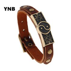 YNB Commodities wholesale national wind retro alloy Leather Bracelet popular men and women can adjust the first jewelry