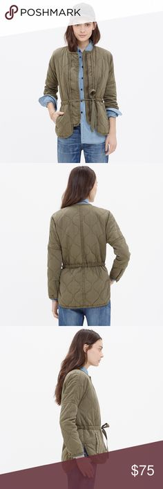 Madewell Quilted Drawstring Jacket Feminine take on a military style jacket. Warm and perfect for chilly nights. It's been specially garment dyed to give it a worn-in look. I'm re-poshing this piece since it just didn't fit me quite right. So bummed and wish it did. Only flaw: a few spots of very mild pilling in the interior. Retail: $138. Madewell Jackets & Coats
