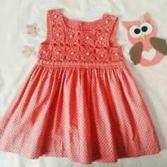 "Vestido de croche para menina [ ""Crochet top of dress"" ] # # #Dresses, # #Bebe, # #Tissue"