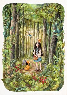 News from a blue bird by Aeppol Forest Girl, Girl And Dog, Anime Scenery, Alone, Cute Illustration, Anime Art Girl, Cartoon Art, Cute Drawings, Art Images