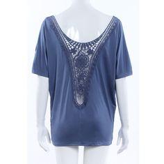 Women Scoop Neck Crochet Flower Lace Open Back Batwing Tunic Shirt Tops Blue M 4