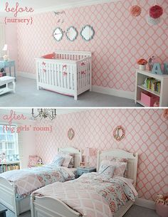 Nursery Transitioned to Shared Bedroom - love this pink and coral accent wall!