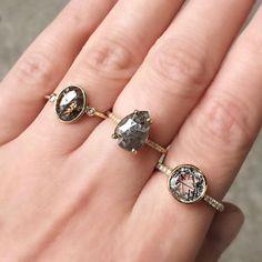 Vale Jewelry Kepler Ring Horizon And Custom Cut Grey Diamond Teardrop