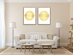 Mandala Wall Art, Set of 2 prints, Hindu Wall Decor, Golden Mandala, Watercolor Art, Bedroom Wall Art, New Age, Archival Print, Buddhist Art NOTE - This is not a foil. This is a watercolor Set Of Mandala The Shipping for any additional prints is FREE - Order As Much As You Want Any Art print can