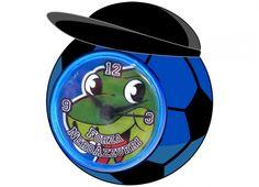 TIF8 OROLOGIO PALLA CAPPELLO NERO/AZZURRI  Orologio da tavolo TIF8 in plastica a forma di palla nei colori nero/azzurro, con cappello e all'interno del quadrante disegno del serpentotto.