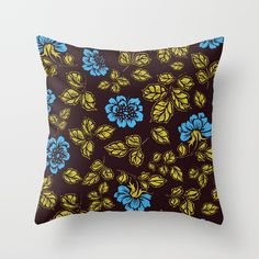 Blue garden of roses pattern. Grab this romantic pillow on Society6.