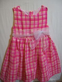 Cherokee Girls Size 6X Dressy Sleeveless Summer Plaids & Checks Dress Polyester #Cherokee #Dressy