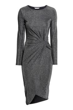 Long-sleeved dress in soft fabric with a knot detail at the waist and asymmetric wrapover skirt. Hijab Evening Dress, Evening Dresses, Dress Sewing Patterns, Draped Dress, Fashion Company, Shirt Blouses, Blouses For Women, Work Wear, Casual
